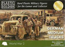 Plastic Soldier 15mm German Medium Trucks (5 Fast Assmebly Vehicles)