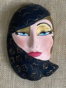 Hand Crafted Painted Clay Ceramic Harlequin Plaster Mask * 6 x 3
