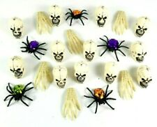 Miscellaneous Halloween Decorations Including Skulls + Boney Hands + Spiders