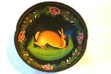 Vintage Handpainted Bowl Toleware Penn Dutch Folk Art - Unusual Stunning Bowl