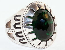 925 Sterling Silver Men's Ring with Totally Handmade Real Precious Emerald