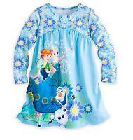 Disney Store Frozen Elsa Anna Olaf NightGown PJ's Girls Size 3 4 5/6 7/8 9/10