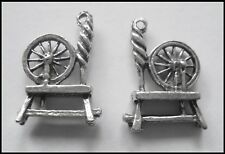 PEWTER CHARM #2030 x 2 SPINNING WHEEL (19mm x 14mm) 1 bail SPINNER DOUBLE SIDED