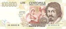 BIGLIETTO DI BANCA D'ITALIA 100000 LIRE ANNO 1994 CARAVAGGIO