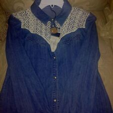 Sanctuary Clothing Chambray  Blue Jean Lace Front Western Women Shirt New