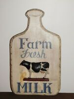 "CHATHAM COUNTRY COTTAGE CASPER 19"" HIGH FARM FRESH MILK  COW KITCHEN WOOD SIGN"
