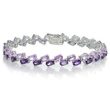 Sterling Silver African Amethyst and amethyst 2-row Bracelet