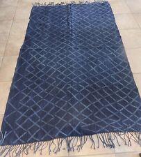 """Heavy Weight, Blanket Size, Mossi, Burkina Faso Indigo/48""""x76'/Fringe"""