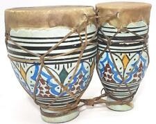 Moroccan Drum TomTom Tabla Darbuka Doumbek Tombak Bongo Set Handmade Ceramic