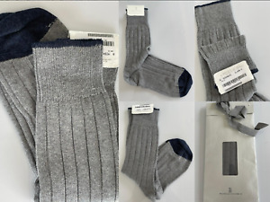Brunello Cucinelli Men's Ribbed Grey Cotton Socks Suit Made IN Italy Size L