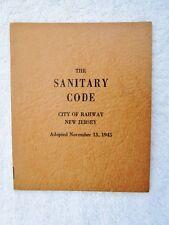 1945 Vintage Booklet Board of Health, Sanitary Code, City of RAHWAY NJ