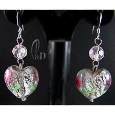 AU SELLER Heart Murano glass lampwork&Crystal Silver earrings 030699