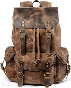 Men Travel Waxed Canvas Backpack Rucksack Camping Laptop Hiking School Book Bag