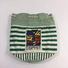 ESPRIT Bag Cotton Canvas Spell Out Green White Stripe Vintage 90s Sailors Tote
