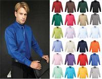 Premier PR200 Mens poplin long sleeve blouse  Plain Work Shirt Sizes 14.5-19