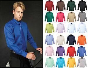 Premier PR200 Men's poplin long sleeve blouse  Plain Work Shirt Sizes 14.5-19