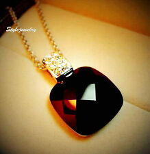 Rose Gold Filled Made with Swarovski Crystal Black Square Onyx Necklace N123