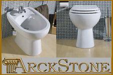 ARCKSTONE Igienici Sanitari Bagno WC Vaso e Bidet Ceramica Bianco Azzurra Diana
