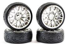 Fastrax 1/10th Street Tread Tyres on Chrome Star Spoke Wheels Set of 4