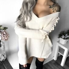Boutique Cream Lace Up Sweater