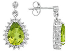 Item #1559 Pear Shape Manchurian Peridot™ And Round White Zircon Sterling Silver