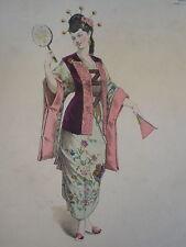 Litho PORTRAIT THÉÂTRE COSTUME FEMME MODE ROBE JAPONAISE JAPON JAPAN COIFFE 1860