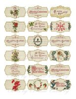 Christmas Vintage inspired 18 assorted labels laminated glossy cut and ready to