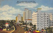 Miami Beach Florida Looking North on Collins From 63rd Street 1940s Postcard