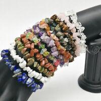 15Colors Unisex Women Men Gemstone Crystal Chip Beaded Stretch Charm Bracelet Dw