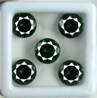 5 Pcs Green Garnet Gemstone Lot 12.50 Ct Natural VS Clarity Round AGSL Certified