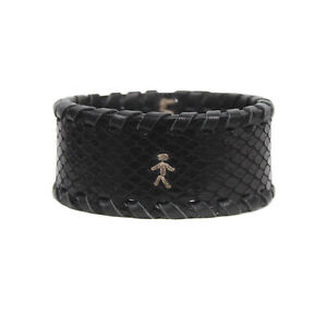 Henry Beguelin Black Snakeskin Textured Leather Cuff Bracelet
