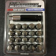 Gun Metal 12x1.5 Steel lug nuts & lock 20 pcs honda acura toyota civic integra