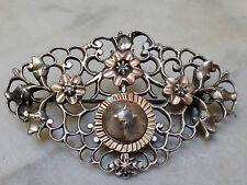Superbe broche croix Normande argent massif et or diamant rose XVIIIeme