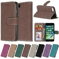 For Apple iPhone 5 6s 7 8 Plus Luxury Flip Wallet Leather Stand Matte Case Cover
