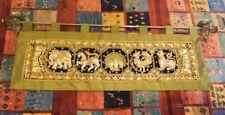 """Handmade Sequin-Embroidered Wall Tapestry Animal Black Velvet, Olive Green 59""""L"""