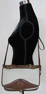 Vintage Dooney & Bourke Cream & Tan Leather Briefcase Crossbody Bag A7 261391