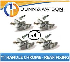 Chrome Plated Rear Fixing 'T' Lock / Handle (Trailer Caravan Canopy Toolbox) x4