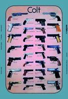 Colt Revolver Pistolet Modèles Panneau Métallique Plaque Voûté Étain Signer