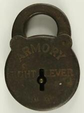 "Vintage Armory Sight Lever Padlock Metal Cast Iron Brown No Key 3.5"""
