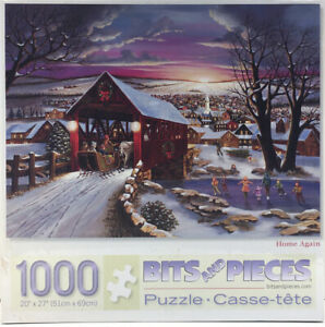 NEW SEALED 1000 Bits & Pieces Christmas Scene Puzzle Home Again Sleigh Skaters