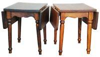 2 Vintage Early American Heirloom Pine Drop Leaf Dollhouse Tables Primitive