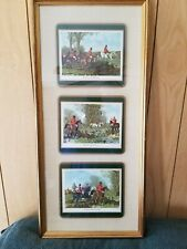 English Fox Hunting Framed Set Of 3 Pictures With Glass Front By J.F. Herring