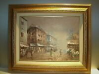 "Vtg Impressionist Paris city Street Scene Oil Painting by M. Arouet 23"" x 19"""