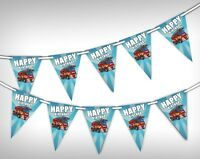 Happy Birthday - Fire Truck - Unique Bunting Banner 15 flags by Party Decor