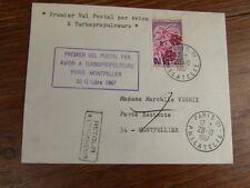 FDC LETTRE AIR FRANCE 30/10/1967 1ere LIAISON PARIS-MONTPELLIER
