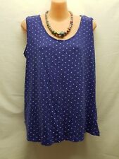 AUTOGRAPH SIZE 14 PURPLE WHITE SPOTTED SINGLET TOP CASUAL WEAR