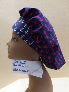 Anchors Away (pink) Women's Bouffant Surgical Scrub Hat/Cap Handmade