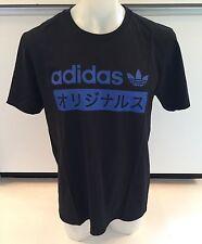 Adidas Originals Japanese Black Blue T-shirt Men's Sz 2XL XX-Large Graphic Tee