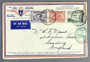 IMPERIAL AIRWAYS 1931 EXPERIMENTAL FLIGHT AUSTRALIA  - ENGLAND AIRMAIL COVER