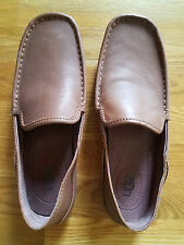 UGG Australia Hunley British Tan Brown Leather Moccasin Loafers, Sz 9M